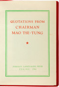 Books:World History, [Mao Tse-Tung]. Quotations from Chairman Mao Tse-Tung. Peking: Foreign Languages Press, 1966. Stated first edition. ...