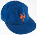 Baseball Collectibles:Hats, 1980s Dwight Gooden Game Worn, Signed New York Mets Cap....