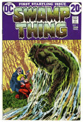 Bronze Age (1970-1979):Horror, Swamp Thing #1 (DC, 1972) Condition: VF+. Bernie Wrightson coverand art. First telling of revised origin. Overstreet 2006 V...
