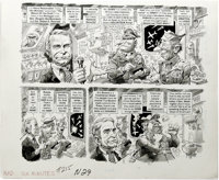 """Jack Davis - Mad #215 Complete 4-page Story """"'Six Minutes' on the Return of the Draft"""" Original Art (EC, 1980)..."""