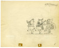 "Animation Art, Walt Disney Studios - ""The Big Bad Wolf"" Animation ProductionDrawing Original Art (Disney, 1934). Fiddler and Fifer Pig esc..."