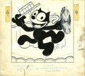 Original Comic Art:Covers, Joe Oriolo (attributed) - Felix the Cat Cover Original Art (Harvey,undated). Entertainer Felix does a little soft shoe, in ...