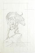 Original Comic Art:Sketches, Bernie Wrightson - Girl on Dinosaur Illustration Original Art (undated). Where the lines of art, illustration and narrative ...