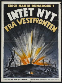 """All Quiet on the Western Front (Universal, 1930). Danish Poster (25"""" X 33.5""""). War. Directed by Lewis Mileston..."""