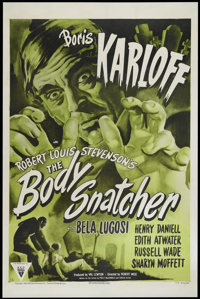 "The Body Snatcher (RKO, R-1952). One Sheet (27"" X 41""). Style A. Horror. Directed by Robert Wise. Starring Bor..."