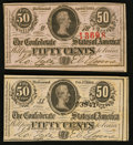 Confederate Notes:Group Lots, T63 50¢ 1863 PF-7. T72 50¢ 1864 PF-1 Cr. 578.. ... (Total: 2 notes)