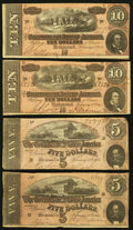 Confederate Notes:Group Lots, T68 $10 1864 PF-15; PF-31 Cr. 545; Cr. 549.. T69 $5 1864 PF-1; PF-5Cr. 558; Cr. 560. ... (Total: 4 notes)