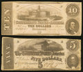 Confederate Notes:1862 Issues, T52 $10 1862;. T53 $5 1862.. ... (Total: 2 notes)