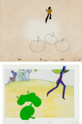 Music Memorabilia:Original Art, Beatles Yellow Submarine Animation Cel and ProductionDrawing Group of 3 (United Artists/King Features, 1968).. ...