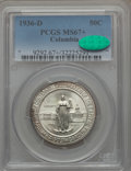 1936-D 50C Columbia MS67+ PCGS. CAC. PCGS Population: (233/32 and 44/6+). NGC Census: (220/21 and 13/2+). CDN: $375 Whsl...