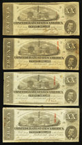 Confederate Notes:1863 Issues, T58 $20 1863 PF-4 Cr. 418; PF-17 Cr. 426; PF-24 Cr. 424 (2) Four Examples.. ... (Total: 4 notes)
