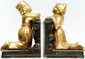Books:Furniture & Accessories, [Bookends]. Pair of Matching Bookends Depicting Dutch Children.Ronson: #16510, [n.d., circa 1925]. ... (Total: 2 Items)