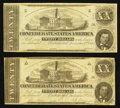 Confederate Notes:1862 Issues, T51 $20 1862 PF-11 Cr. 366 Two Examples.. ... (Total: 2 notes)