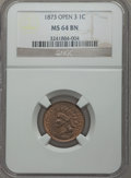 Indian Cents: , 1873 1C Open 3 MS64 Brown NGC. NGC Census: (18/12). PCGS Population (33/8). Mintage: 11,676,500. Numismedia Wsl. Price for ...