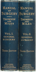 Books:Medicine, [Medicine]. Alexis Thomson and Alexander Miles. Manual ofSurgery, Vols. I & II. Edinburgh, Glasgow, and London:...(Total: 2 Items)