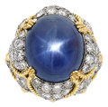 Estate Jewelry:Rings, Star Sapphire, Diamond, Platinum, Gold Ring, David Webb. ...