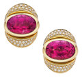 Estate Jewelry:Earrings, Rubellite Tourmaline, Diamond, Gold Earrings, Marina B. ...