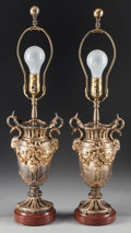 Decorative Arts, French:Lamps & Lighting, A Pair of French Parcel Gilt Bronze Urns Mounted as Lamps, 20thcentury. 12 inches high (30.5 cm) (without harps). ... (Total: 2Items)