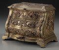 Decorative Arts, Continental:Other , A French Rococo-Style Miniature Gilt Bronze Jewelry Chest, late19th century. 7-1/2 inches high x 8-1/2 inches wide x 5-1/2 ...