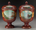 Decorative Arts, Continental:Other , A Pair of Metal Covered Urns with Tole Painting, early 20thcentury. 14-1/2 inches high (36.8 cm). ... (Total: 2 Items)