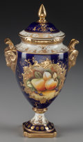 Ceramics & Porcelain, British:Contemporary   (1950 to present)  , A Coalport Porcelain Covered Urn, Shropshire, England, late 20th century. Marks: M.D. (Coalport marks to underside). 9-...