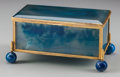 Decorative Arts, Continental:Other , A Blue Agate Trinket Box, late 19th century. 3 inches high x 6inches wide x 3 inches deep (7.6 x 15.2 x 7.6 cm). ...