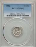 Seated Half Dimes: , 1842 H10C MS64 PCGS. PCGS Population (41/13). NGC Census: (46/26). Mintage: 815,000. Numismedia Wsl. Price for problem free...