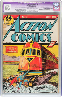Action Comics #8 Incomplete/Married Cover (DC, 1939) CGC Apparent NG (No Grade) Cream to off-white pages