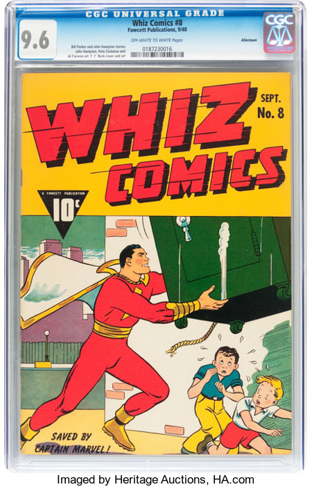 Whiz Comics #8 Allentown pedigree (Fawcett Publications, 1940) CGC NM+ 9.6 Off-white to white pages....