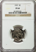 Proof Buffalo Nickels: , 1937 5C PR64 NGC. NGC Census: (212/1266). PCGS Population(435/1899). Mintage: 5,769. Numismedia Wsl. Price for problemfre...
