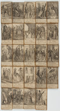 Miscellaneous:Trading Cards, [Trading Cards]. Lot of Twenty-Four Humorous Nineteenth-CenturyCards Illustrating the Spanish Alphabet. [N.p., n.d.]. ...