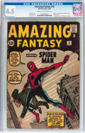 Silver Age (1956-1969):Superhero, Amazing Fantasy #15 (Marvel, 1962) CGC VG+ 4.5 Cream to off-white pages....