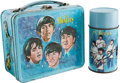 Music Memorabilia:Memorabilia, A Beatles Vintage Blue Aladdin Lunchbox with a Matching Thermos(US, 1965).... (Total: 2 Items)