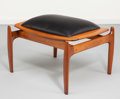 Furniture : American, John Nyquist (American , b. 1936). Ottoman, circa 1960.Black walnut and black leather. 17 x 24-1/2 x 19-7/8 inches (43....