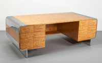 Leon Rosen (American, 20th Century) Desk, circa 1970, Pace Collection Tamo veneer, polished chrome