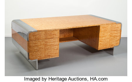 Leon Rosen (American, 20th Century)Desk, circa 1970, Pace CollectionTamo veneer, polished chrome29 x 84 x 41-3/4 i...