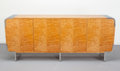 Furniture , Leon Rosen (American, 20th Century). Credenza, circa 1970, Pace Collection. Tamo wood veneer, polished chrome. 35-1/2 x ...