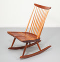 Furniture , George Nakashima (American, 1905-1990). Rocking Chair, circa 1960. Persian walnut and hickory. 33-1/2 x 23-1/4 x 29-1/4 ...