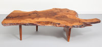 George Nakashima (American, 1905-1990) Free-Edge Conoid Coffee Table, circa 1975 English walnut with