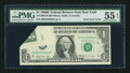 Error Notes:Foldovers, Fr. 1905-B $1 1969B Federal Reserve Note. PMG About Uncirculated 55EPQ.. ...