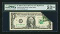 Error Notes:Foldovers, Fr. 1913-E $1 1985 Federal Reserve Note. PMG About Uncirculated 53EPQ.. ...