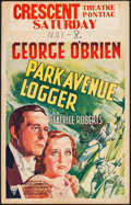 "Movie Posters:Adventure, Park Avenue Logger (RKO, 1937). Window Card (14"" X 22"").Adventure.. ..."