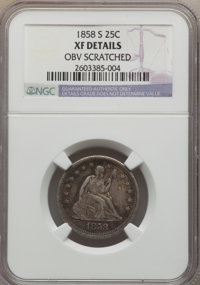 1858-S 25C -- Obverse Scratched -- NGC Details. XF. NGC Census: (2/18). PCGS Population (13/15). Mintage: 121,000. Numis...