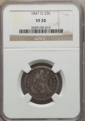 Seated Quarters: , 1847-O 25C VF20 NGC. NGC Census: (2/29). PCGS Population (5/59). Mintage: 368,000. Numismedia Wsl. Price for problem free N...