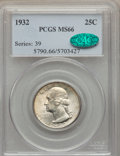 Washington Quarters, 1932 25C MS66 PCGS. CAC. PCGS Population (204/3). NGC Census:(101/4). Mintage: 5,404,000. Numismedia Wsl. Price for proble...