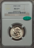 Washington Quarters, 1950-S 25C MS67+ NGC. CAC. NGC Census: (221/2). PCGS Population(80/0). Mintage: 10,284,004. Numismedia Wsl. Price for prob...