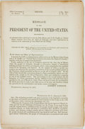 Books:Americana & American History, [Colorado]. Message of the President of the United States,Transmitting a Communication Addressed to him by John Evansa...