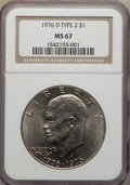 Eisenhower Dollars, 1976-D $1 Type 2 MS67 NGC. NGC Census: (19/0). PCGS Population (25/0). Mintage: 82,179,568. Numismedia Wsl. Price for probl...