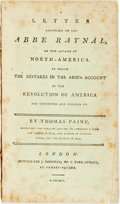 Books:Americana & American History, Thomas Paine. A Letter Addressed to the Abbe Raynal, on theAffairs of North-Africa. In Which the Mistakes in the Abbe'...