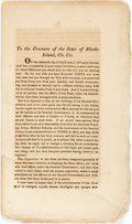 Books:Americana & American History, [Rhode Island]. To the Freeman of the State of Rhode-Island,&c, &c. [No place, n.d., circa 1817]. First editio...